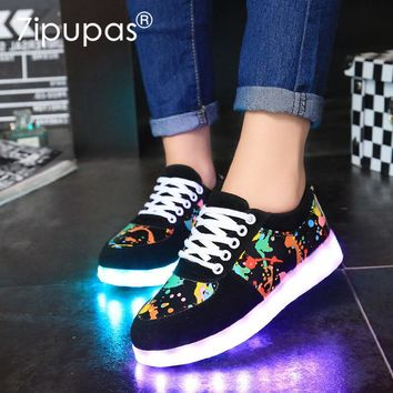 7ipupas New EUR30-44 kids Shoes Led Shoes Glowing 11 Colors LED boys gilrs fashion luminous sneakers unisex led light up sneaker