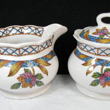 Vintage SADLER'S China of ENGLAND PIAZZA Bowl and Creamer Set