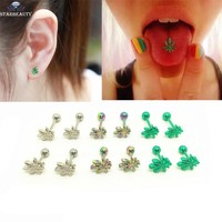 1Pc Light Green Color Leaves Tongue Piercing Tongue Ring Body Piercing Jewelry Stainless Steel Ear Nail Rings Cartilage