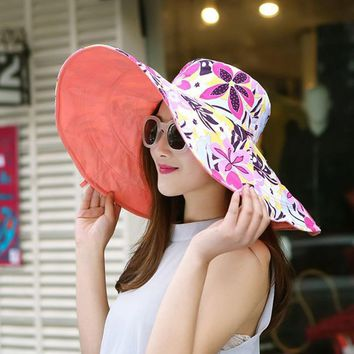 Summer large brim beach sun hats for women UV protection women caps hat with big head foldable style fashion lady's sun hat