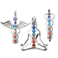 Vogue 7 Chakra Healing Stones Pendant for Necklace Making, 3 Style- Yoga/Angel/Sword,2.3''-2.5'' (One Set (3 pcs included)) = 1933268804