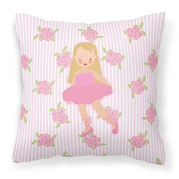 Ballerina Long Haired Blonde Fabric Decorative Pillow BB5185PW1818
