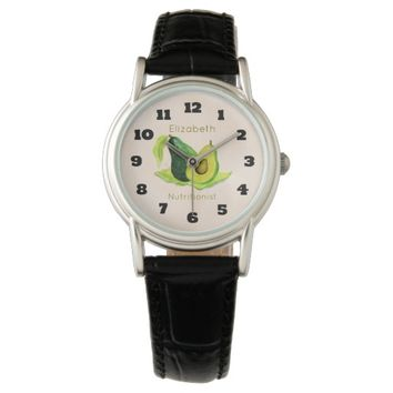 Green Avocado Still Life Fruit in Watercolors Wristwatches
