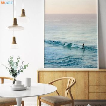 Ocean Waves Beach Art Print Large Printable Wall Art Minimalist Surfing Canvas Poster for Living Room Home Decor Framed