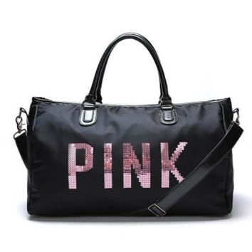 "Gotopfashion """" Pink """" Printed High Quality Durable Victoria's Secret Like Sport Exercise Carry on Yoga Gym Travel Luggage Bag"""