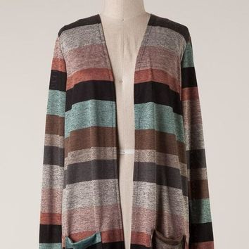 (pre-order) Marled Striped Open Cardy