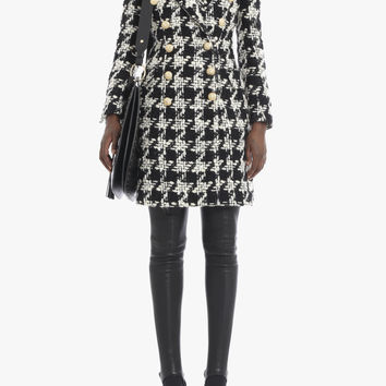 Houndstooth wool-blend coat | Women's coats | Balmain