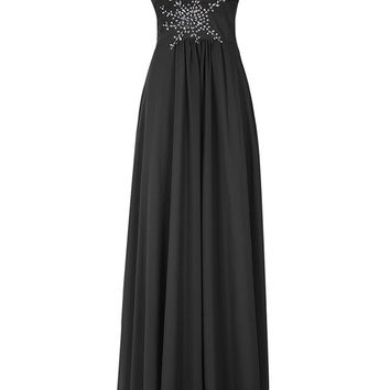 Fashion Plaza Women's Sweetheart Beaded Waist Long Chiffon Prom Bridesmaid Dress Lace-up