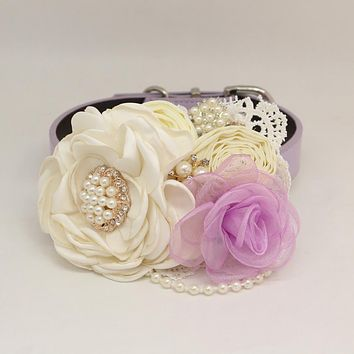 Patience Ivory Lavender Flower dog collar, Pet wedding accessory, Pearls Rhinestone