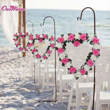 Beach Wedding Car Decoration Heart Rose Wreath Door Wall Hanging Silk Ribbon Art
