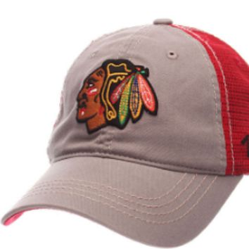 Men's Chicago Blackhawks Zephyr Gray/Red Adjustable NHL Stratus Hat