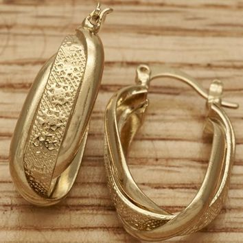 Gold Layered Women Twist Small Hoop, by Folks Jewelry