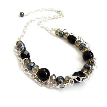 Black grey chain statement necklace rocker chunky edgy glass freshwater pearls glitter ooak handmade