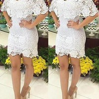 White Slash Collar Floral Lace Dress