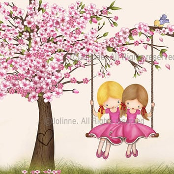 Girls room art, illustration, children art, kids room art, sisters room art, poster, cherry blossom tree, pink