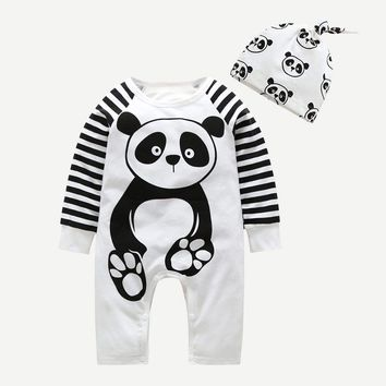 Jack Panda Striped Sleeve Jumpsuit With Hat