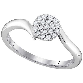10kt White Gold Women's Round Diamond Cluster Slender Simple Ring 1/6 Cttw - FREE Shipping (US/CAN)