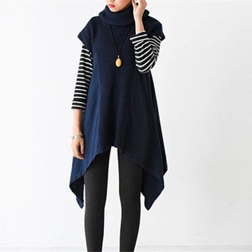 Yesno JT6 Women Casual Loose Turtleneck Knitted Poncho Pullovers Asymmetrical Hem Joint Cotton Linen Cap Sleeve /Pockets