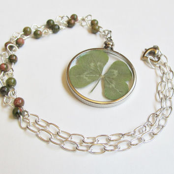 Four Leaf Clover Necklace, Real Four Leaf Clover, Shamrock Necklace, Unakite Necklace, Beaded Gemstone Necklace, Pressed Flower Necklace