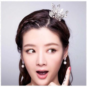 Classic Simulated Pearls Bridal Hair Crown Tiara Small Costume Wedding Hair Jewelry For Girls