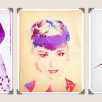 3 PIECE SET Audrey Hepburn Digital Watercolor by PigmentPunch