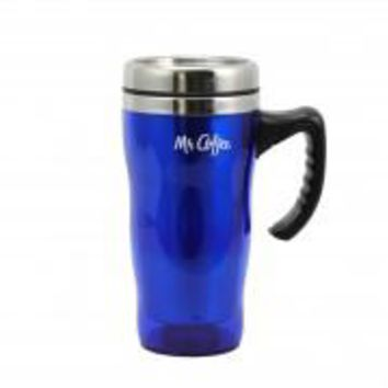 Mr. Coffee Morning Fix 15 oz. Stainless Steel Travel Mug with Lid in Blue