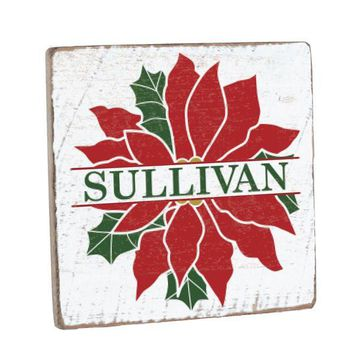 Personalized Poinsettia Vintage Wood Sign 12 x 12