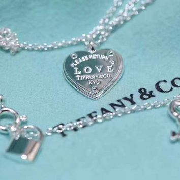 Tiffany & Co. Pure silver Heart Lock key Necklace