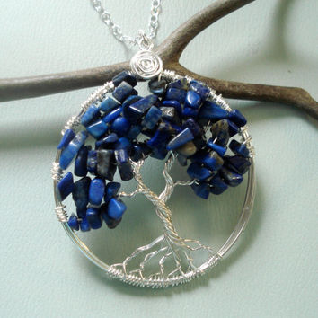 Tree of Life Pendant Necklace -Wire Wrapped Lapis Lazuli Gemstone Necklace- September Birthstone