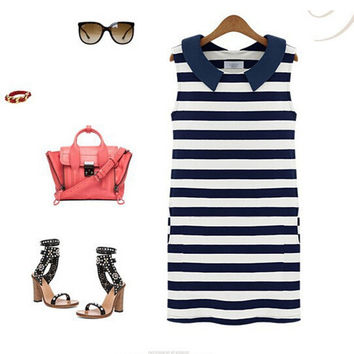 Novelty Summer Clothing Dresses Cute Slim Clothing Women Fashion Denim O-Neck  Sleeveless Casual Striped Jeans Dress