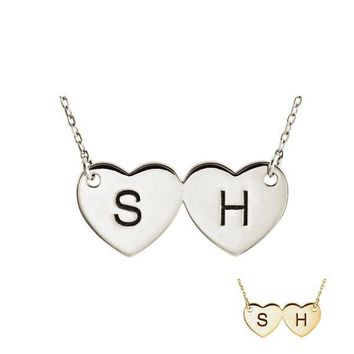 Personalized Double Heart Engraved Initial Necklace