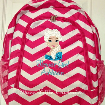 Frozen Princess Elsa Chevron Zig Zag  Backpack Bookbag  FREE PERSONALIZATION Dance Bag Overnight Bag Back to School Small Backpack