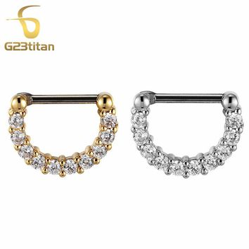 G23titan Zirconia Small Septum Rings for Women Anti allergic G23 Titanium Pole Crystal Nose Ring Body Jewelry
