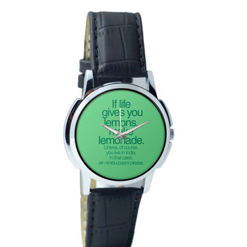 When Life Gives You Lemons Funny Quote Wrist Watch