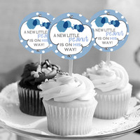 """It's a Boy! Elephant A Little Peanut - Baby Shower Cupcake Toppers - INSTANT Download 2.25"""" - Printable"""