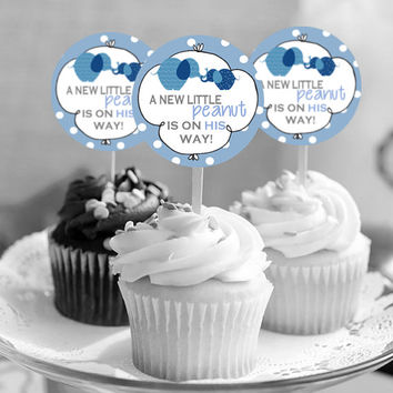 "It's a Boy! Elephant A Little Peanut - Baby Shower Cupcake Toppers - INSTANT Download 2.25"" - Printable"