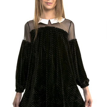 Black Velvet Peter Pan Collar Dress