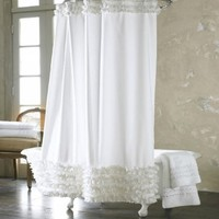 Efivs Arts White Ruffled Lace Fabric Dacron Bath Curtain with Stainless Steel Hoist Hooks, 72 X 72 Inch