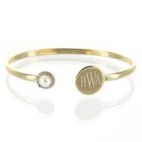 Monogrammed Gold Birthstone Bangle Bracelet