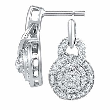 10kt White Gold Women's Round Diamond Concentric Circle Cluster Earrings 1-2 Cttw - FREE Shipping (US/CAN)