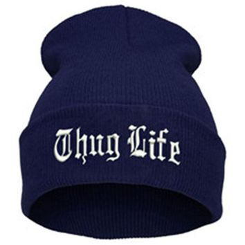 ac NOOW2 THUG LIFE Letter Embroidered Unisex Beanie Fashion 2pac Hip Hop Mens & Womens Knitted Navy Blue & White Tupac Cuffed Skully Hat