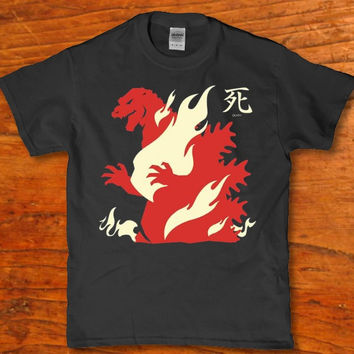 Godzilla walking though fire awesome Monster Dinosaur t-shirt unisex adult