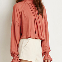 Pink Stand Collar Ruffled Crop Blouse