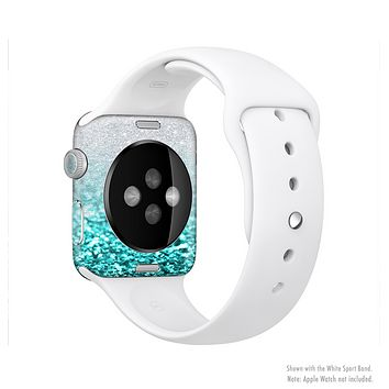 The Aqua Blue & Silver Glimmer Fade Full-Body Skin Set for the Apple Watch