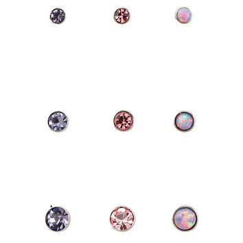 Steel Pink Purple & Opal Stud 9 Pack