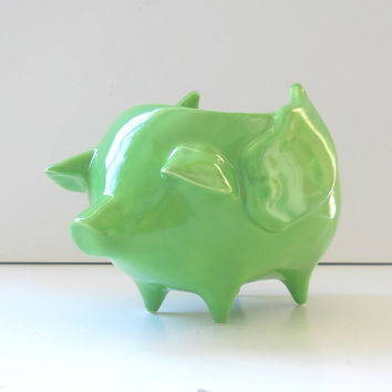 Ceramic When Pigs Fly Pig Planter Vintage Design in Seafoam Green Flying Pig