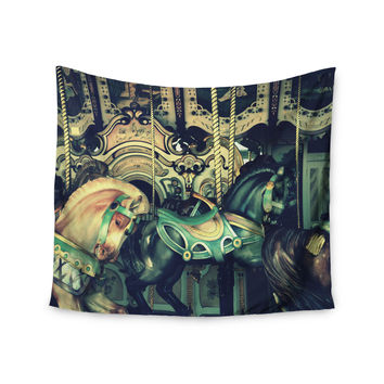 "Robin Dickinson ""Carousel"" Green Horse Wall Tapestry"