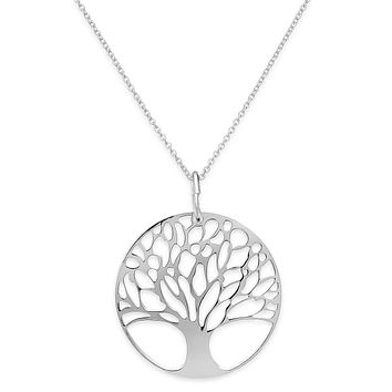 "Classic Tree of Life Necklace 18""in 18K White Gold Plated"