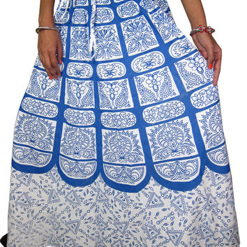 Indian Maxi Skirt Blue Elephant Printed Cotton Hippie Boho Summer Long Skirts