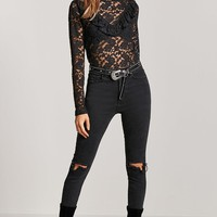 Sheer Floral Lace Ruffle Top
